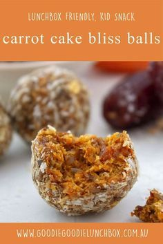 Cake Bliss Balls - Nut Free and Delicious These delicious nut free Carrot Cake Bliss Balls are perfect for school lunches and snacks. Gluten and dairy free and suitable for vegan diets. via delicious nut free Carrot Cake Bliss Balls are perfect for sch. Nut Free Snacks, Vegan Snacks, Healthy Snacks, Kid Snacks, Lunch Snacks, Healthy Breakfasts, Dairy Free Recipes, Baby Food Recipes, Gluten Free