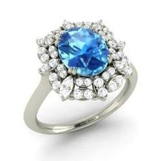Blue Topaz and Diamond  Ring in 14k White Gold (2.6 ct.tw.) - Goodwyn