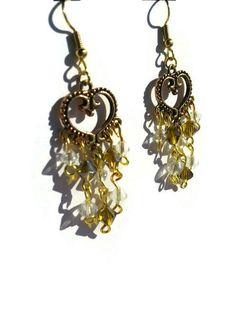 Gold Heart Earrings  Gold Chandelier Earrings  by DameCreation
