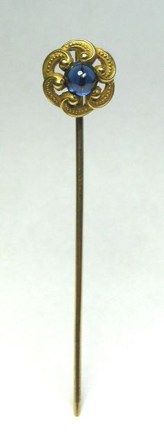 Antique Art Nouveau 14K Gold Sapphire Stick Pin from lifeintheknife on Ruby Lane