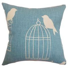 "Cotton pillow with a birdcage design. Made in the USA.  Product: PillowConstruction Material: Cotton cover and down fillColor: AquaFeatures:  Insert includedHidden zipper closureMade in the USA Dimensions: 18"" x 18""Cleaning and Care: Spot clean"