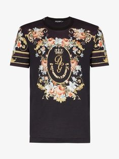 Dolce & Gabbana Dolce And Gabbana Black Floral T-shirt In Black Shoulder Tops, Cold Shoulder, Louis Vuitton T Shirt, Stylish Mens Outfits, Dolce And Gabbana Man, Crochet Clothes, Branded T Shirts, Black Cotton, Floral Wreath