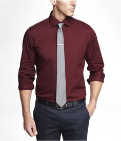 07ada43527 Bride's Men of Honor will be wearing the Garnet Red (or Merlot) 1MX SPREAD  COLLAR SHIRT from Express