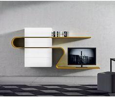 Italienische Designer TV Wohnwand in Weiß mit Highlightfarbe Orca/ TV board made in italy