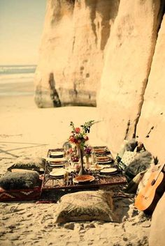 Dinner on the beach.
