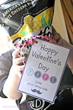 Corny Valentine card for dad using popcorn ... pair the card with a bag of gourmet popcorn from Tastebudspopcorn.com .