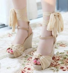Gorgeous Pink PU Lace-Up Bowtie Wedge Sandals