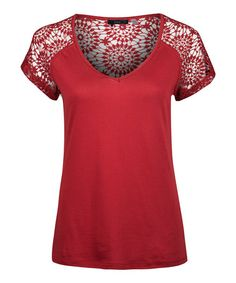 This Red Crochet-Back Scoop Neck Top - Women by Dex is perfect! #zulilyfinds