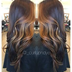 Ombre Hairpainting balayage #brownhair #brunette #subtleombre #carmelhair #lightbrown #blonde #highlights #curls #wavyhair #longhair