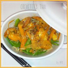 CREVETTES-THAI-recette Thai Red Curry, Ethnic Recipes, Food, Thai Shrimp, Salad, Cooking Recipes, Essen, Meals, Yemek