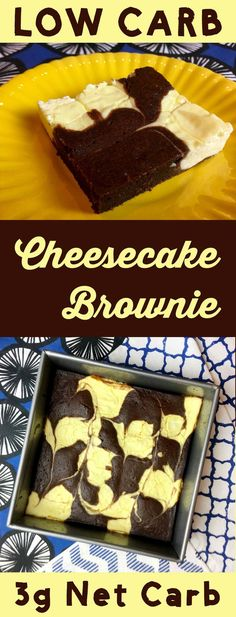 Low Carb Keto Cheesecake Brownies - Resolution Eats This low carb dessert is the best of both worlds. It's half brownie and half cheesecake. It's Atkins, Banting, THM, LCHF, Sugar Free and Gluten Free. Low Carb Cheesecake, Cheesecake Brownies, Keto Brownies, Sugar Free Desserts, Healthy Dessert Recipes, Low Carb Recipes, Paleo Dessert, Meal Recipes, Healthy Food