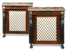 A Pair of Regency revival part-ebonized rosewood specimen marble top side cabinets late 19th century