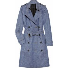 Derek Lam Belted stretch-denim trench coat ($508) ❤ liked on Polyvore featuring outerwear, coats, jackets, tops, trench coats, belted coats, derek lam, double breasted belted coat and double-breasted trench coat