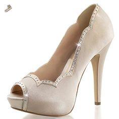 d4fb679e9af Womens Champagne Colored Shoes Peep Toe Pumps Rhinestone Trim 5 Inch Heels  Shoe Size  8