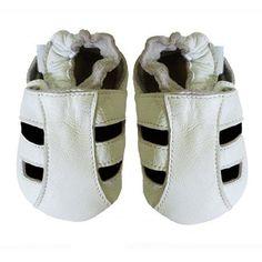 Acogedoras y suaves cuero sandalias para bebé con suela de gamuza – Dotty Fish – niña, niño -0-6 Meses – Blanco