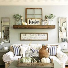 Fall Living Room Decor Ideas That Will Make Your House Look Luxurious Herbst Wohnzimmer Dekor Ideen, Fall Living Room, Big Living Rooms, Living Room Decor, Decorating A Large Wall In Living Room, Small Living, Modern Living, Living Room Walls, Farmhouse Wall Decor, Country Decor