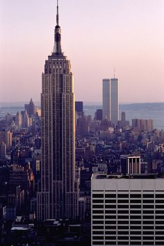 New York Skyline.  / pre 9-11-2001.  Twin Towers in the distance downtown.