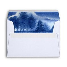 #Blue Watercolor Winter Forest Wedding Envelopes - #Wedding #Printed & #Mailing #Envelopes #weddinginvitations #wedding #invitations #party #card #cards #invitation
