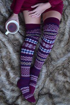 Patterned Thigh High Socks - Burgundy