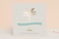 """""""Palm"""" - Save The Date Cards in Salmon by Lauren Chism."""