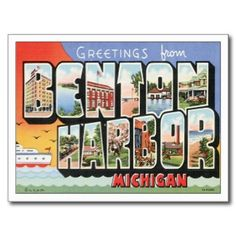 PICTURES OF BENTON HARBOR MI | Greeting from Benton Harbor Michigan MI Postcard