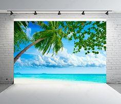 Amazon.com : 10x6.5ft Blue Sea Backgrounds Blue Sky White Cloud Coconut Trees Photo Backdrops Nature Scenery Backdrop : Camera & Photo