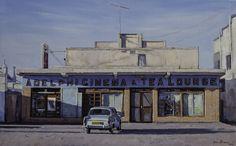 Adelphi Cinema & Tea Lounge, Carnarvon | Oil on canvas 500mm x 800mm Artist: John Kramer www.johnkramer.net Tea Lounge, South African Artists, English Artists, Unique Paintings, Landscape Paintings, Landscape Photography, Oil On Canvas, Cinema, Art Deco