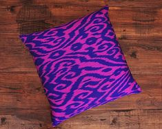 ikat fabric throw pillow ikat cushion suzani decor by DecorUZ Ikat Pillows, Toss Pillows, Couch Pillows, Accent Pillows, Comfortable Pillows, Silk Pillow, Ikat Fabric, Fabric Textures, Handmade Pillows
