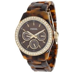 """This Fossil """"Stella"""" tortoise shell  watch is unique and stylish and gen be dressed up or worn for everyday! #watch #womens #fossil"""