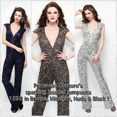 Primavera Couture's sparkling beaded jumpsuits in Bronze, Midnight, Nude & Black! #promdresses2016 #primaveracouture #prom #sequins #eveningwear #cocktaildresses #prom2016 #fashion #usa #florida #chicago #nyc #California #dubai #vogue #couture #lebanon #beirut #kuwait #riyadh #jordan #redcarpetwear #sequinsdresses #paris #longgowns #london #style