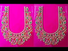 About Rose hand designer's This channel brings to you best tutorial for hand Embroidery and Aari Work Embroidery Basic stitch, Advance level stitch, blouse m. Magam Work Designs, Chudithar Neck Designs, Blouse Back Neck Designs, Bridal Blouse Designs, Hand Designs, Dress Designs, Hand Work Blouse Design, Hand Work Design, Stone Work Blouse