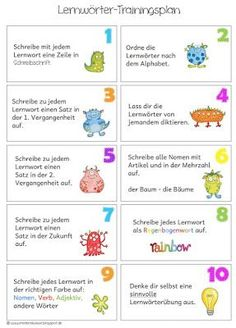 Lernwörterübungen für zu Hause