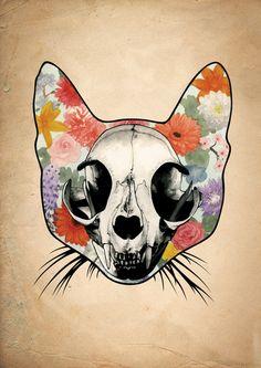 Floral Cat Skull - Grunge Art Print by Rebecca Bennett | Society6