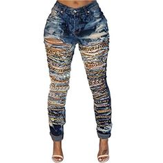 New Trending Denim: VICVIK Women Knee Casual Stylish Hip Hop Skinny Denim Pants Ripped Chain Jeans (2XL, Blue). VICVIK Women Knee Casual Stylish Hip Hop Skinny Denim Pants Ripped Chain Jeans (2XL, Blue)   Special Offer: $23.99      455 Reviews This skinny flare jeans for women used highly stretchable and soft denim fabricType:High Elastic Thin Denim;Pattern:Ripped Holes.The blue jeans has a original...