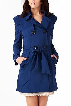 London Calling Double Breasted Belted Trench Tunic Coat in Cobalt Blue | Sincerely Sweet Boutique