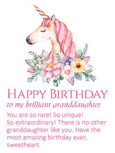 An Elegant Unicorn Has Come To Wish Your Granddaughter Amazing Birthday This Card Is Perfect F
