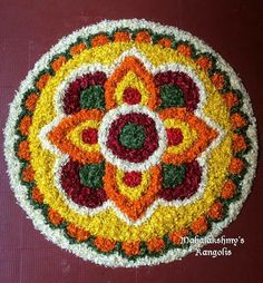Rangoli Designs Flower, Flower Rangoli, Kolam Designs, Flower Designs, Diwali Decorations, Flower Decorations, Free Hand Rangoli Design, Diwali Rangoli, Board Decoration