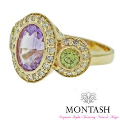 Pair peridot with a variety of #gold & gem colours! Yellow gold ring with #amethyst, #diamond and #peridot! #montashjewellerydesign