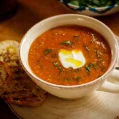 Red Lentil Soup with Spinach Recipe Spinach Lentil Soup, Red Lentil Soup, Spinach Recipes, Pretty Good, Lentils, Thai Red Curry, Tasty, Stuffed Peppers, Cooking