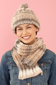 Rustic Ribbed Hat and Scarf in Lion Brand Tweed Stripes - L0611B