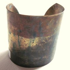 Brass Cuff Boho Bracelet Patina Verdigris Tribal by gimmethatthing, £14.00