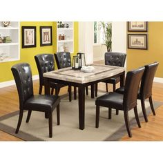 5 Piece Dining Set - Contemporary Montreal Marble and Espresso