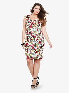 d2c750e2fad Retro Chic - Rose   Skull Print Wiggle Dress