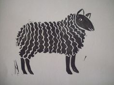 Wooly sheep printed from a handcarved linoleum block in black ink on cream-colored cardstock. One of a series of four farm animals. Sheep figure