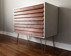 Striped Mid Century 3-Drawer Dresser