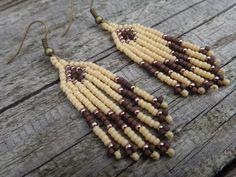Native American beaded earrings. Arrow motif, Tribal. Earrings chevron. Beaded fringes of seed beads. Native American Indian. Native jewelry