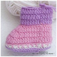 Cómo tejer botitas con ganchillo | Paso a Paso Crochet Baby Socks, Crochet Baby Sandals, Baby Knitting Patterns, Crochet Patterns, Baby Dress, Free Pattern, Baby Shoes, Ideas, Craft Storage