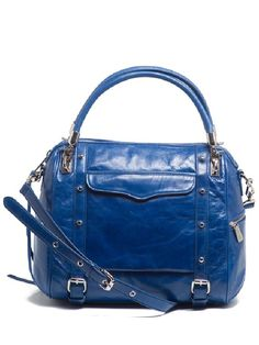 Rebecca Minkoff Cupid satchel in cobalt leather with silver hardware