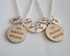 No matter where, Partners in crime necklaces, Long distance gifts, Best friends necklaces, couple set Sisters Boyfriend Girlfriend gifts - Actual Pin Diy Gifts For Girlfriend, Bff Gifts, Best Friend Gifts, Boyfriend Gifts, Gifts For Friends, Gifts For Her, Sisters Boyfriend, Boyfriend Girlfriend, Boyfriend Sayings