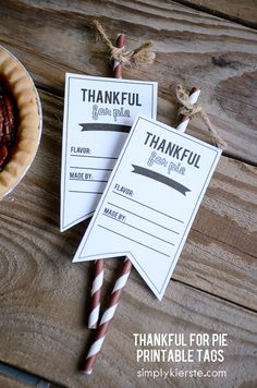 Thankful for pie! {printable tags}